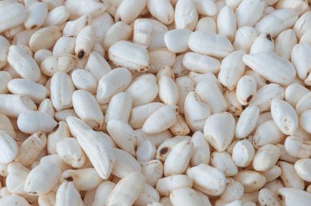 Macro of dry white puffed rice.