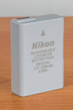 Pruszcz Gdanski, Poland - January 16, 2019: New rechargable battery EN-EL14a for Nikon DSLR cameras