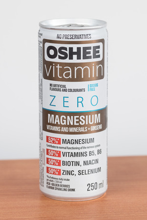 Pruszcz Gdanski, Poland - January 24, 2019: Can of Oshee zero vitamin drink. Oshee with magnesium, vitamins and minerals plus ginseng.