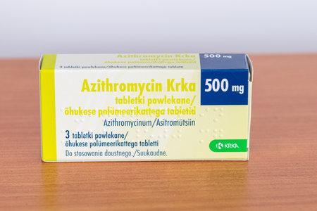 Pruszcz Gdanski, Poland - February 2, 2019: 2019: KRKA Azithromycin 500 mg tablets.