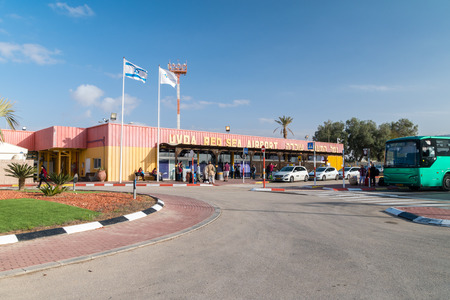 Ovda, Israel - February 7, 2019: Entance to civilian Ovda Red Sea Aiport. Civilian airport in the Uvda region of southern Israel.
