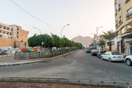 Aqaba, Jordan - February 8, 2019: View of sunrise at Pr. Mohammad in Aqaba.