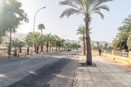 Aqaba, Jordan - February 8, 2019: View K. Hussein street  in the morning.