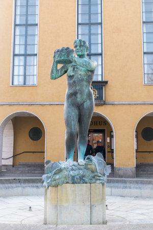 Sanderborg, Denmark - February 14, 2019: Alspigen (The Girl of the island of Als) in the center of Sonderborg. Editöryel