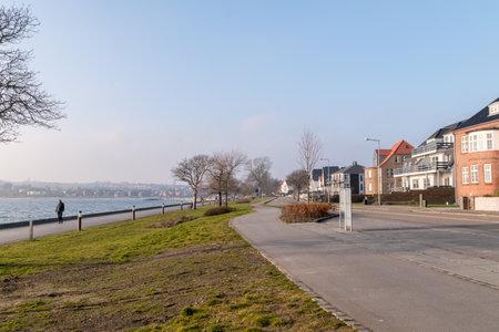 Sonderborg, Denmark - February 14, 2019: Strandvej street in Sonderborg.