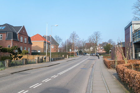Sonderborg, Denmark - February 14, 2019: View of street in Sonderborg. Editöryel