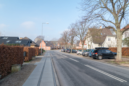 Sonderborg, Denmark - February 14, 2019: View of Kongevej street in Sonderborg. Editöryel