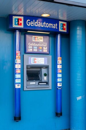 Hamburg, Germany - February 15, 2019: ATM of Geldautomat in Hamburg.