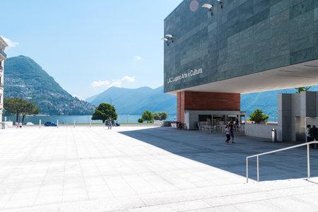 Lugano, Switzerland - June 1, 2019: Square at LAC Lugano Arte e Cultura.