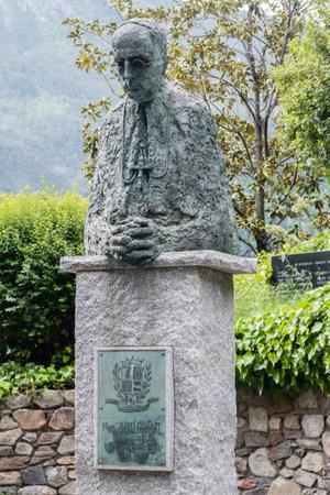 Andorra la Vella, Andorra - June 3, 2019: Sculpture of roman catholic bishop Justi Guitart. Redakční