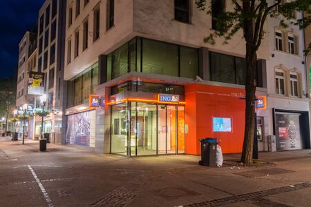 Luxembourg, Luxembourg - June 4, 2019: An ING Bank in Luxembourg at night.