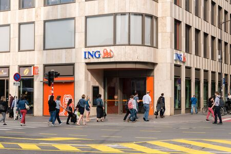 Luxembourg, Luxembourg - June 5, 2019: ING Bank branch entrance. Редакционное