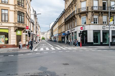 Luxembourg, Luxembourg - June 5, 2019: Rue Jean Origer street in Luxembourg.