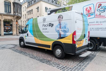 Luxembourg, Luxembourg - June 5, 2019: Parked Luxembourg post office truck.