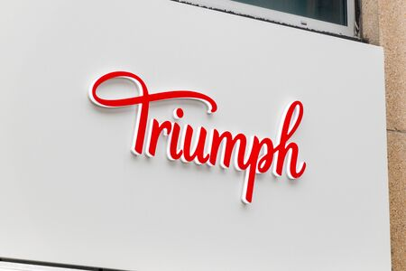 Luxembourg, Luxembourg - June 5, 2019: Logo and sign of Triumph. Triumph International is an international underwear manufacturer. Redactioneel