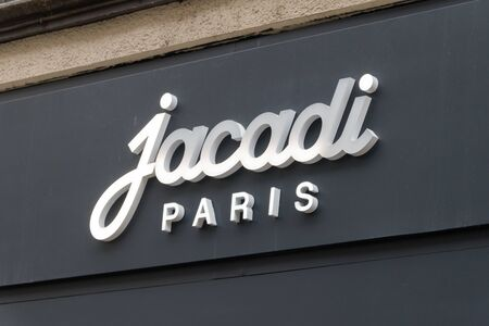 Luxembourg, Luxembourg - June 5, 2019: Detail from Jacadi Paris store with logo and sign. Jacadi Paris is chain of clothing stores for children.