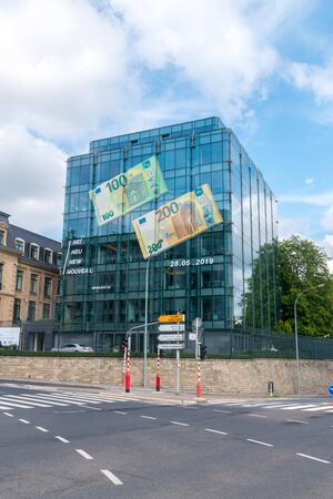 Luxembourg, Luxembourg - June 5, 2019: Modern builidign of Central Bank of Luxembourg. Redactioneel