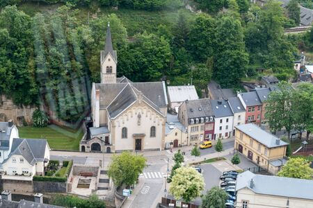 Luxembourg, Luxembourg - June 5, 2019: View of valley in Luxembourg with Nativity of the Lord Romanian Orthodox Church.