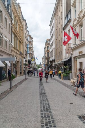Luxembourg, Luxembourg - June 5, 2019: Rue Philippe II street at cloudy day.