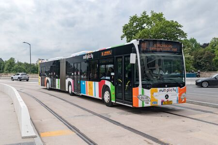 Luxembourg, Luxembourg - June 5, 2019: multiplicity city bus in Luxembourg. Sajtókép