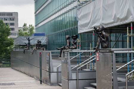 Brussels, Belgium - June 5, 2019: Girls statues outside the EU Charlemagne Building. Publikacyjne