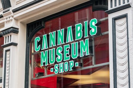 Amsterdam, Netherlands - June 7, 2019: View of Cannabis Museum shop sign on the store.