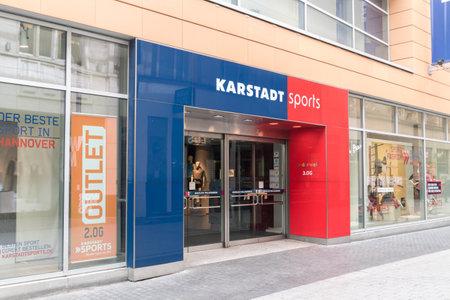 Hanover, Germany - June 8, 2019: Entrance to German Karstadt Sport store chain.