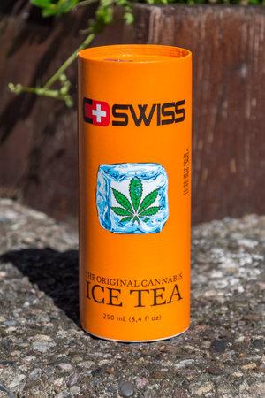 Hannover, Germany - June 8, 2019: Swiss original cannabis ice tea.