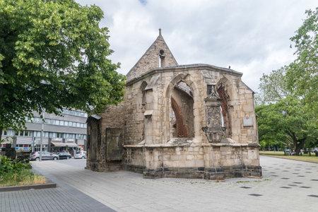 Hanover, Germany - June 8, 2019: Chapel ruins dedicated to saint Nicholas in Hanover.