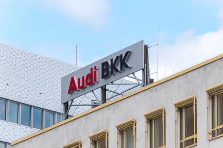 Wolfsburg, Germany - June 8, 2019: Logo and sign of Audi BKK.