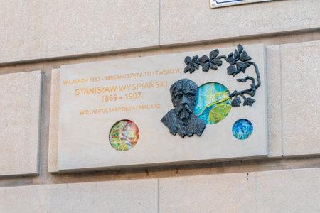 Krakow, Poland - July 27, 2019: Memorial plaque for Polish poet and painter Stanislaw Wyspianski.