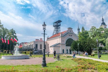 Wieliczka, Poland - July 27, 2019: KoÅ›ciuszko Square with Wieliczka Salt Mine - Regis Shaft in background.