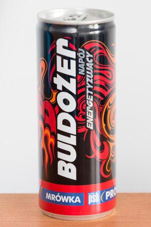 Pruszcz Gdanski, Poland - August 1, 2019: Can of Buldozer energy drink.