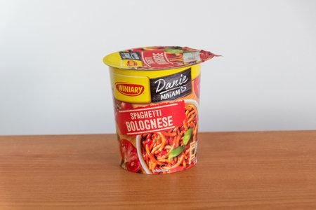 Pruszcz Gdanski, Poland - August 13, 2019: Winiary Danie Mniam instant spaghetti bolognese. Instant dish in plastic cup. Editorial