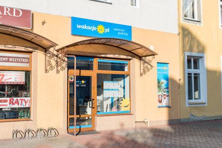 Kwidzyn, Poland - September 22, 2019: Wakacje.pl travel agency in Poland.