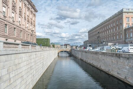 Stockholm, Sweden - September 24, 2019: Water beetwen island on Gamla Stan in Stockholm.