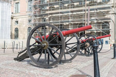 Stockholm, Sweden - September 24, 2019: Historical canon in front of the Royal Palace in Stockholm. Redakční