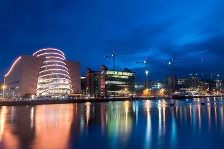 Dublin, Ireland - November 5, 2019: Riverbank with Convention Centre Dublin at night. Editorial