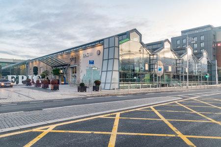 Dublin, Ireland - November 5, 2019: EPIC The Irish Emigration Museum at sunrise.