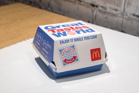Dublin, Ireland - November 5, 2019:  McDonalds Great Tasted of the World sandwich box.