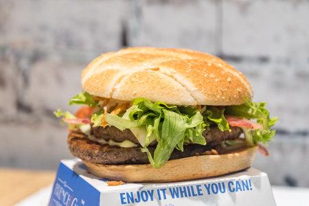 Dublin, Ireland - November 5, 2019: Swiss Stack burger in Irish McDonalds.