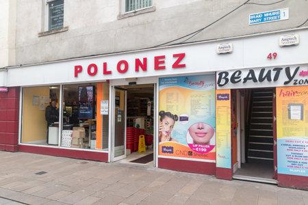 Dublin, Ireland - November 5, 2019: Polonez shop in Dublin. Polonez is a shop with Polish products. Редакционное