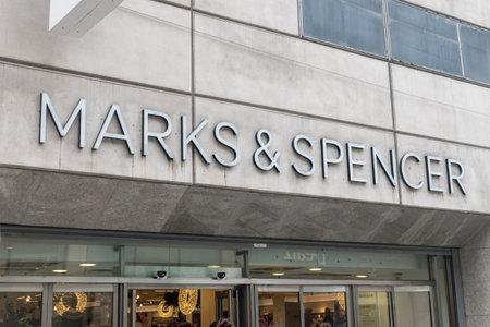 Dublin, Ireland - November 5, 2019: Logo of Marks & Spencer.