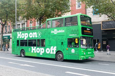 Dublin, Ireland - November 5, 2019: Dublin City Bus Tour. Dublin Hop-On Hop-Off.