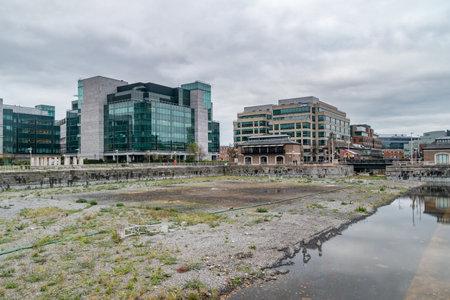 Dublin, Ireland - November 5, 2019: IFSC pond at International Financial Services Centre.