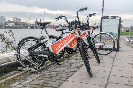 Dublin, Ireland - November 6, 2019: Bleeper bike for rent.