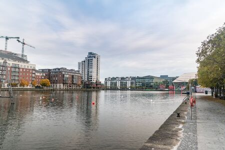 Dublin, Ireland - November 6, 2019: Modern Dublin Docklands at Grand Canal Square.