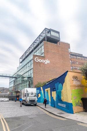 Dublin, Ireland - November 6, 2019: 1 Grand Canal Quay building with Google sign.