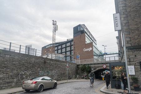 Dublin, Ireland - November 6, 2019: 1 Grand Canal Quay office building with Google sign.