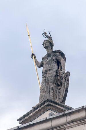 Hibernia Statue on General Post Office in Dublin, Ireland.